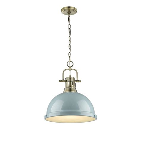 L Shade Pendant by Golden Lighting Duncan Ab 1 Light Aged Brass Pendant With