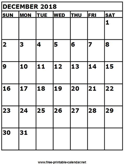 printable calendar for december 2018 free printable calendar december 2018