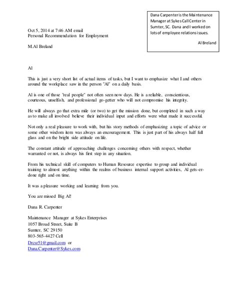 Recommendation Letter Email Carpenter Letter Of Recommendation