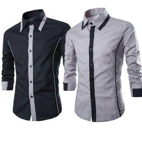 Baju Lengan Panjang Warna Hitam Putih jual kemeja pria model lengan panjang warna hitam dan abu terbaru baju baju kemeja kemeja