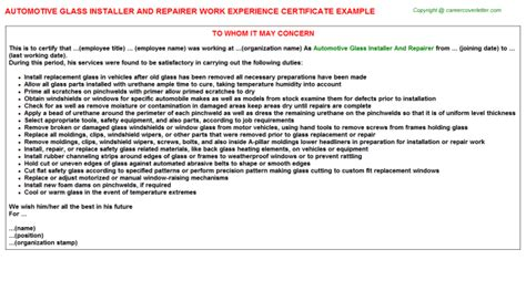 Glass Installer Cover Letter by Automotive Glass Installer And Repairer Work Experience Certificate Sle