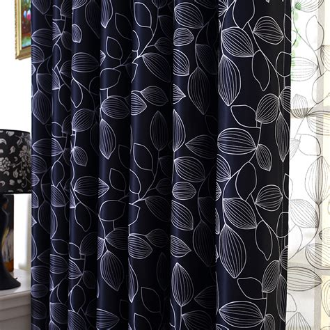 natural and black curtains black and white leaf natural grommet patio door curtains