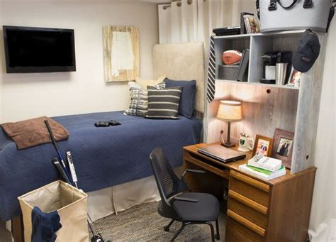 simple decorated college dorm rooms with ikea furniture guy s simple yet functional dorm room blue bed spread