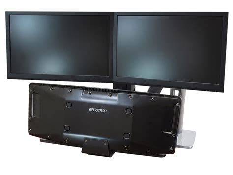 Office Desk Monitors Ergotron Workfit A Sit Stand Workstation With Dual Monitor