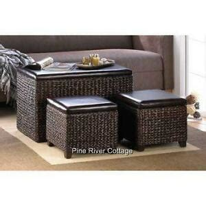 brown woven wicker storage chest trunk coffee table