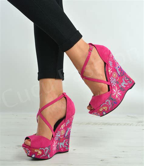 Wedges Heels 3 womens floral wedge platforms high heels ankle