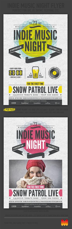 flyer design on behance indie music night flyer poster on behance