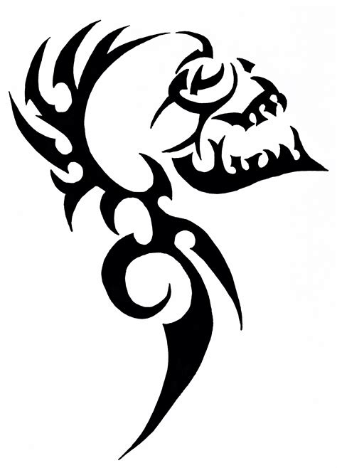 skull with tribal tattoo tribal skull тату эскиз stenciling