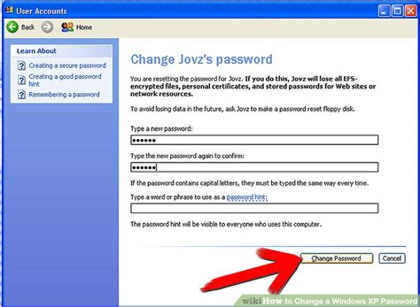 windows reset password vs change password how to change a windows xp password 6 steps with pictures