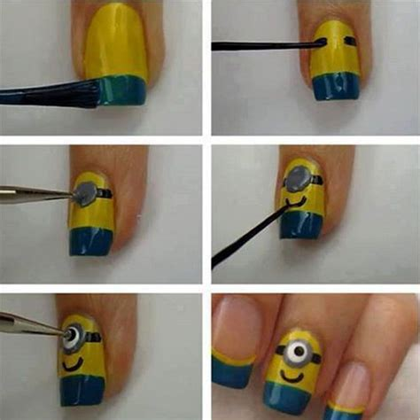 tutorial nail art minions 10 easy step by step minion nail art tutorials for