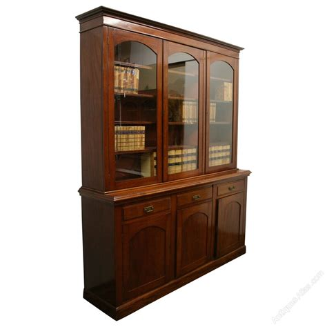 Bookcase Cabinets With Doors Late 3 Door Cabinet Bookcase Antiques Atlas