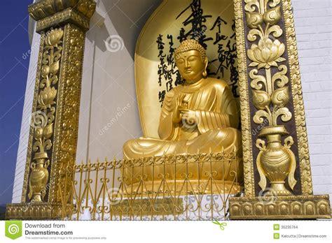 pokhara nepal 20 may gold buddha from the world peace