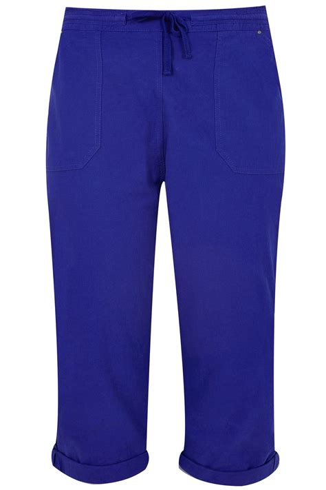 Card 727 Blue royal blue cool cotton cropped trousers plus size 16 to 36