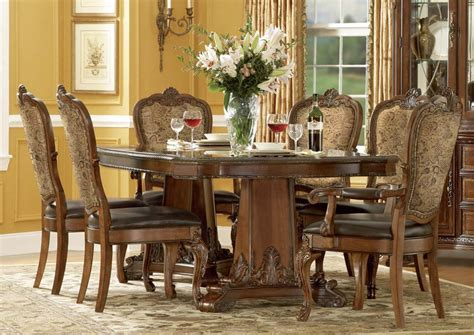innovative old wooden dining room chairs old world style a r t old world 7 pc double pedestal dining set in cherry