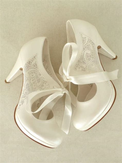 lace insert bridal shoes with ribbons in ivory 4 quot heels
