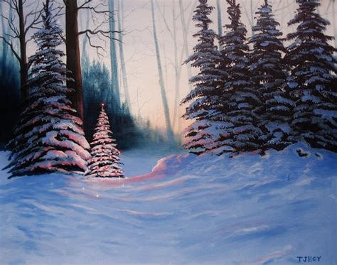 christmas tree in the woods 16 x 20 original thomas justin hoy