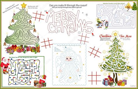 printable christmas table games placemat christmas printable activity sheet 4 stock