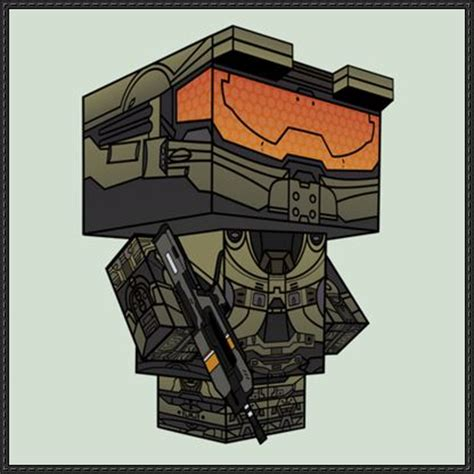 Master Chief Papercraft - halo 4 master chief cube craft free paper