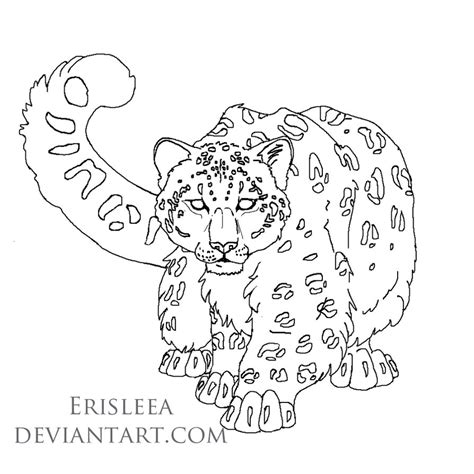 snow tiger coloring page snow leopard lineart for mangojellygirl by erisleea on