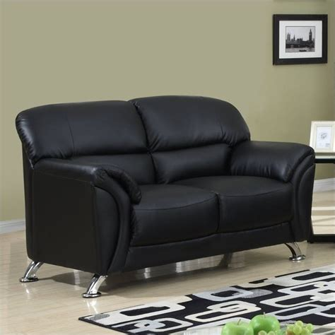 global furniture usa faux leather loveseat in black chrome