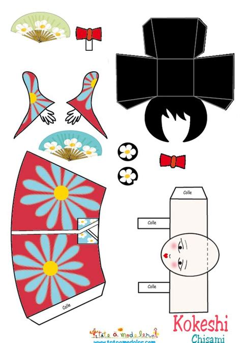 Papercraft Doll - papercraft kokeshi dolls and paper toys on