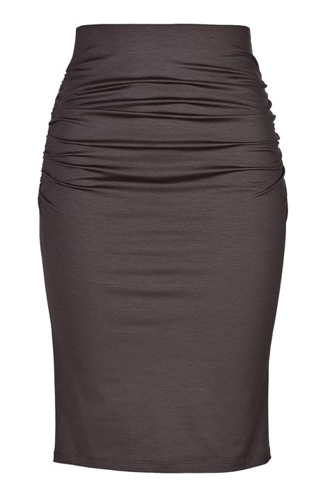 paule ka stretch cotton highwaisted pencil skirt in brown