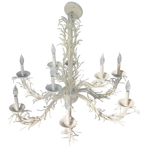 Shell Chandeliers For Sale Coral Shell Chandelier Palm Nine Light Shades Metal Regency For Sale At 1stdibs
