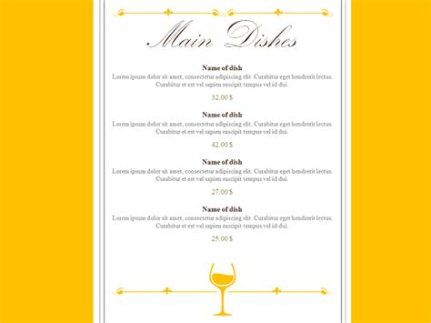 restaurant menu powerpoint template restaurant menu powerpoint template