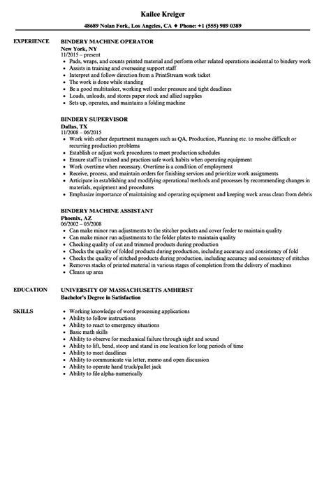 Bindery Operator Sle Resume by Bindery Resume Sles Velvet