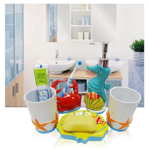 kid bathroom accessories 2015 kids bathroom sets high quality five pieces cartoon