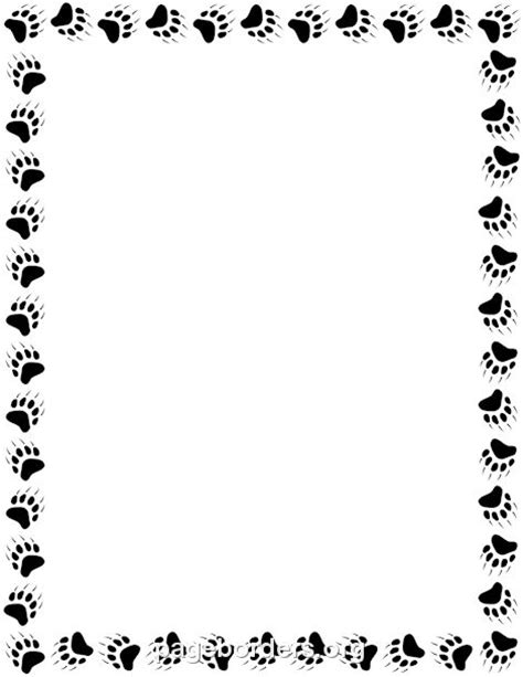 Paw Print Page Border Clip by Printable Paw Print Border Use The Border In