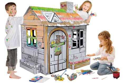 cardboard playhouse to color toyandmodelstore build and colour farm card board play