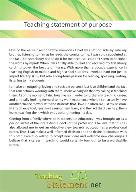 what is the purpose of a template teaching statement of purpose help teaching statement