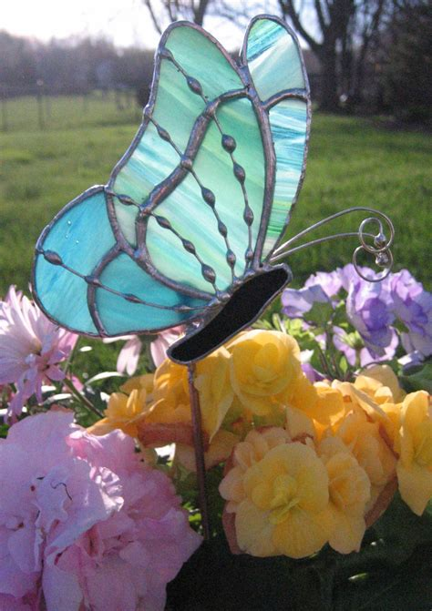 projects butterfly garden stake lime aqua and blue stained glass butterfly garden stake