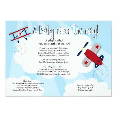 airplane invitation template baby aviator airplane 5x7 baby shower invitation 5 quot x 7