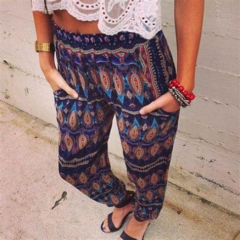 red patterned joggers pants loose boho bohemian bohemian aztec aztec