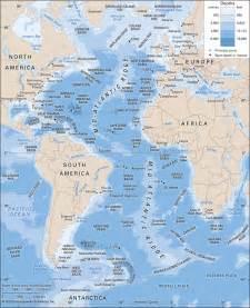 atlantic south america map atlantic depth contours and submarine features