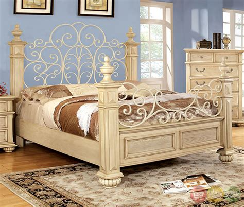white traditional bedroom furniture waldenburg traditional antique white bedroom set with floral metal design headboard and