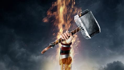 thor wallpaper hd 1920x1080 full hd wallpaper thor hammer mjolnir fire poster desktop