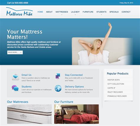 Mattress Mike by Design Portfolio Santa Barbara Web Design Sles