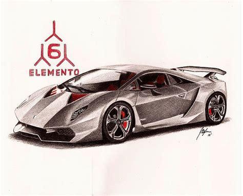 colored pencil drawing of a lamborghini sesto elemento