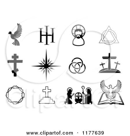 is a christmas tree a religious symbol clipart of black and white christian symbols royalty free vector illustration by