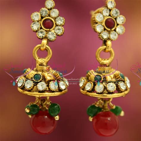 fancy jhumka earrings j3235 mini antique gold plated jhumka handmade fancy jewellery low price