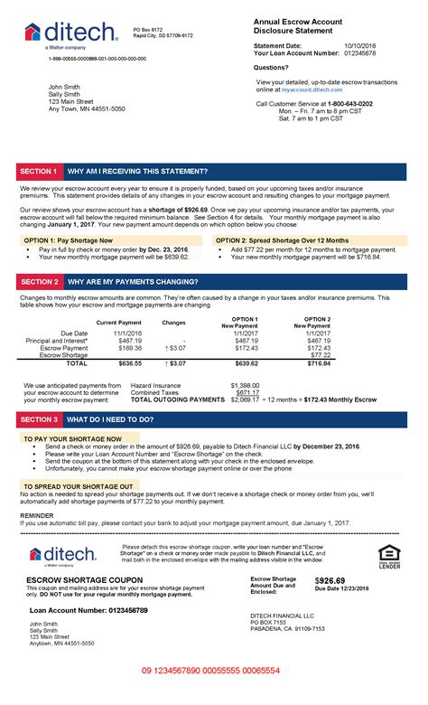 Mortgage Escrow Letter how to read your escrow statement ditech