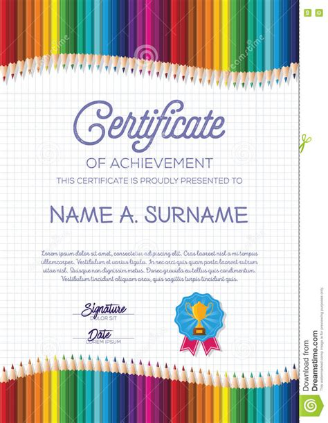 certificate template with colorful pencil frame for