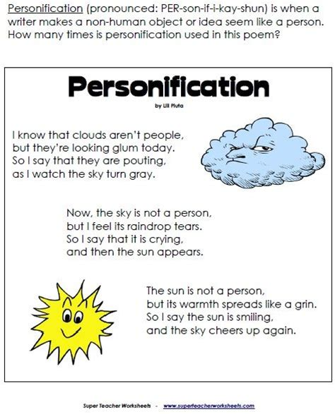 Personification Worksheets by Personification Poem 5th Grade Poem And Html