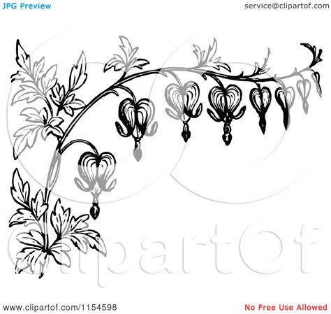 flower border tattoo stylized bleeding heart flower drawing white border