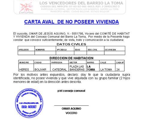modelo actualizado de carta de no poseer vivienda consejo comunal carta aval de no poseer vivienda