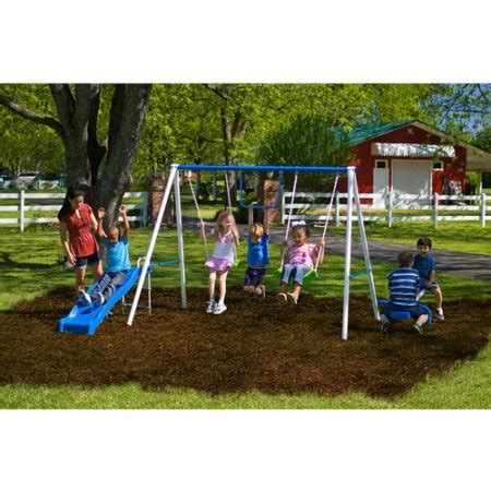 walmart swing sets in store flexible flyer fun time metal swing set walmart com