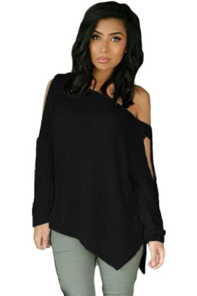 sleeve slit sleeve knit top wholesale black sleeve slit arm and side ribbed knit top